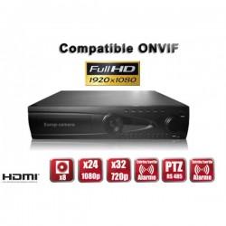 Gravador digital NVR via rede 24 / 32 canais H264 IP ONVIF 1080P FULL HD