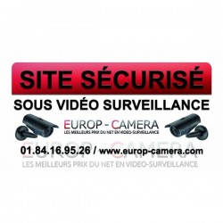 Autocolante de vinil Site seguro sob video vigilância 100 x 50 mm