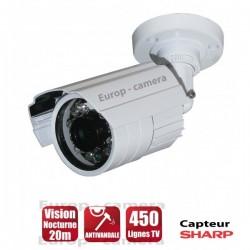 Câmera bullet 450 linhas branca 1/4 Sensor Sharp IR 20m à prova de água