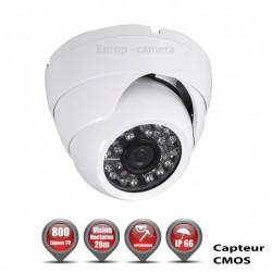 Câmera dome 800 linhas 1/3 Sensor CMOS IR 20m à prova de água branca