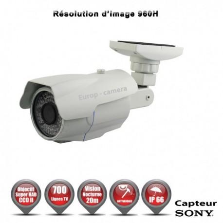 Câmera bullet 700 linhas 960H 1/3 Sensor SONY SUPER HAD CCD 2 IR 20m à prova de água e de vandalismo