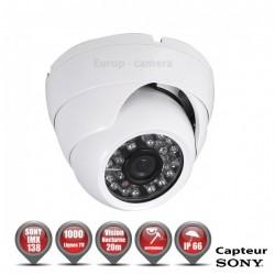 Câmera dome 1000 TVL 1/3 SONY IMX138 IP66 IR 20m à prova de vandalismo