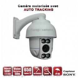 Câmera de segurança motorizada Auto Tracking PTZ 360° IR 50m 650 TVL Zoom x10 para exterior