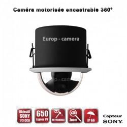 Câmera de segurança motorizada Auto Tracking PTZ 360° 650 TVL Zoom x30 encastrável para interior