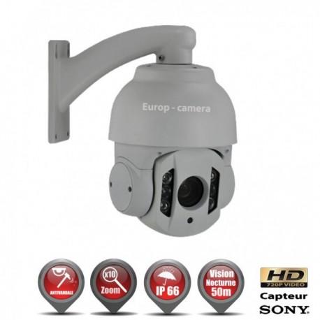 Câmera de segurança motorizada Auto Tracking PTZ 360° AHD 720P IR 50m Zoom x10 para exterior