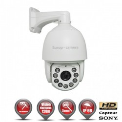 Câmera de segurança motorizada Auto Tracking PTZ 360° AHD 720P IR 120m Zoom x18 para exterior