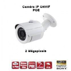 Câmera bullet IR 20m ONVIF POE SONY 1080P 2.4 MP à prova de água e de vandalismo