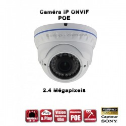 Câmera dome IR 35m ONVIF Varifocal POE SONY 1080P 2.4MP à prova de água e de vandalismo