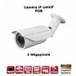 Câmera bullet IR 45m ONVIF Varifocal POE SONY 1080P 2.4MP à prova de água e de vandalismo