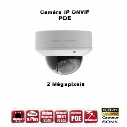 Câmera dome IR 25m ONVIF Varifocal POE SONY 1080P 2.4MP à prova de água e de vandalismo