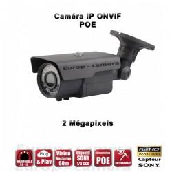 Câmera bullet IR 60m ONVIF Varifocal POE SONY 1080P 2.4MP à prova de água e de vandalismo