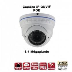 Câmera dome IP IR 35m ONVIF Varifocal POE SONY HD 960P 1.4MP à prova de água e de vandalismo