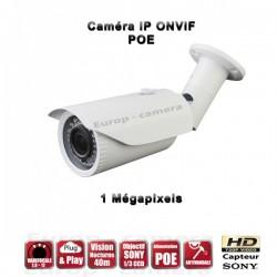 Câmera bullet IP IR 40m ONVIF Varifocal POE OMNIVISION 720P 1MP à prova de água e de vandalismo