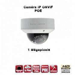 Câmera dome IP IR 25m ONVIF Varifocal POE 720P MP à prova de água e de vandalismo