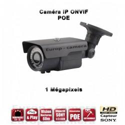 Câmera bullet IP POE IR 60m ONVIF Varifocal 720P 1MP à prova de água e de vandalismo