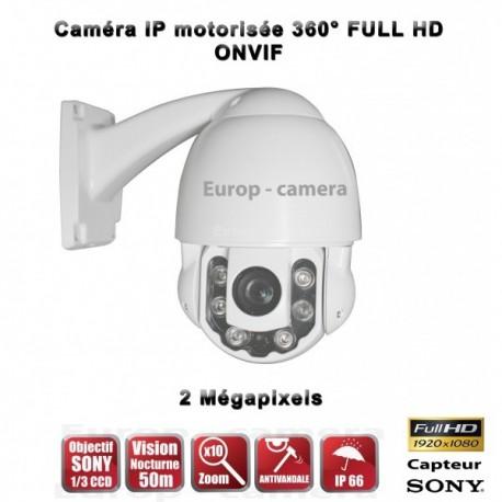 Câmera de segurança motorizada Auto Tracking PTZ 360° IP HD 1080P ONVIF IR 50m Zoom x10 para exterior