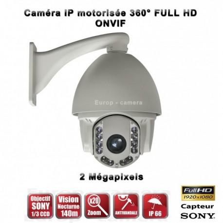 Câmera de segurança motorizada Auto Tracking PTZ 360° IP HD 1080P ONVIF IR 140m Zoom x20 para exterior