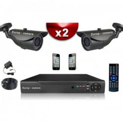 Kit ECO FULL D1 2 câmeras bullet CMOS 800 linhas + gravador DVR 250 Go