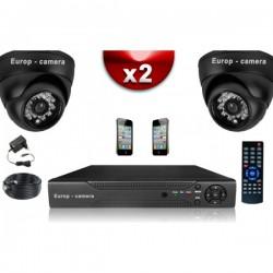 Kit ECO FULL D1: 2 câmeras dome CMOS 800 linhas + gravador DVR 250 Go