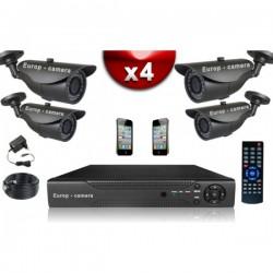 Kit ECO FULL D1: 4 câmeras bullet CMOS 800 linhas + gravador DVR 500 Go