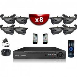 Kit ECO FULL D1: 8 câmeras bullet CMOS 800 linhas + gravador DVR 1000 Go
