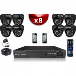 Kit ECO FULL D1: 8 câmeras dome CMOS 800 linhas + gravador DVR 1000 Go