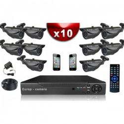 Kit ECO FULL D1: 10 câmeras bullet CMOS 800 linhas + gravador DVR 1000 Go