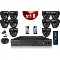 Kit ECO FULL D1: 10 câmeras dome CMOS 800 linhas + gravador DVR 1000 Go