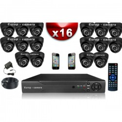 Kit ECO FULL D1: 16 câmeras bullet CMOS 800 linhas + gravador DVR 2000 Go