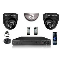Kit CONFORTO 2 câmeras dome SONY 1000 linhas + gravador DVR 250 Go