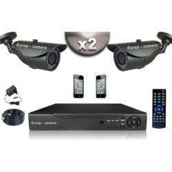 Kit CONFORTO 2 câmeras bullet SONY 1000 linhas + gravador DVR 250 Go