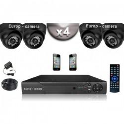 Kit CONFORTO 4 câmeras dome SONY 1000 linhas + gravador DVR 500 Go