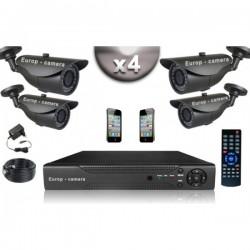 Kit CONFORTO 4 câmeras bullet SONY 1000 linhas + gravador DVR 500 Go