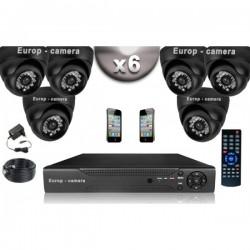 Kit CONFORTO 6 câmeras dome SONY 1000 linhas + gravador DVR 500 Go