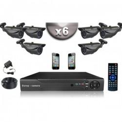Kit CONFORTO 6 câmeras bullet SONY 1000 linhas + gravador DVR 500 Go
