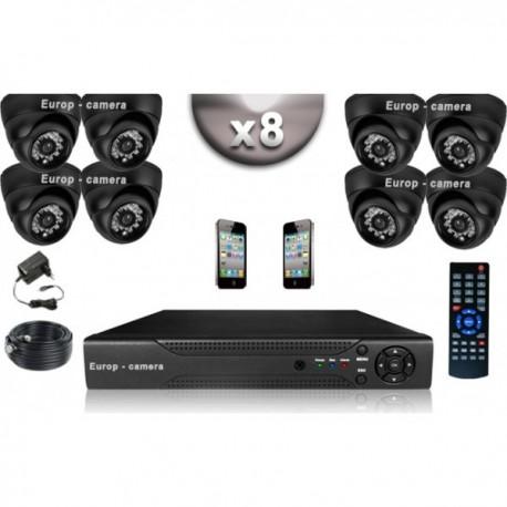 Kit CONFORTO 8 câmeras dome SONY 1000 linhas + gravador DVR 1000 Go