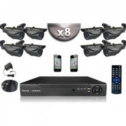 Kit CONFORTO 8 câmeras bullet SONY 1000 linhas + gravador DVR 1000 Go