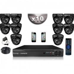 Kit CONFORTO 10 câmeras dome SONY 1000 linhas + gravador DVR 1000 Go