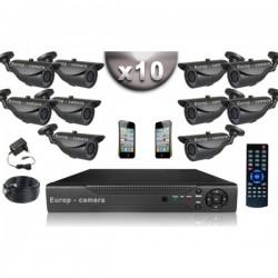Kit CONFORTO 10 câmeras bullet SONY 1000 linhas + gravador DVR 1000 Go