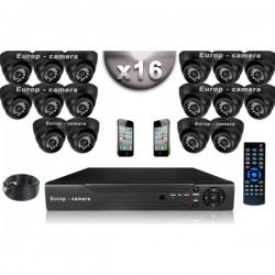 Kit CONFORTO 16 câmeras dome SONY 1000 linhas + gravador DVR 2000 Go