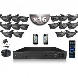 Kit CONFORTO 16 câmeras bullet SONY 1000 linhas + gravador DVR 2000 Go