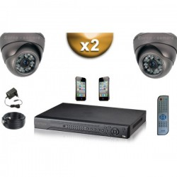 Kit PRO 2 câmeras dome SONY 1000 TVL + gravador DVR 500 Go FULL 960H