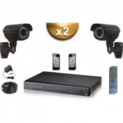 Kit PRO 2 câmeras bullet SONY 1000 TVL + gravador DVR 500 Go FULL 960H
