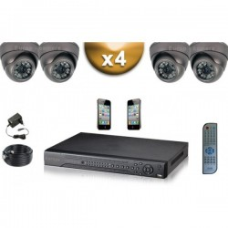 Kit PRO 4 câmeras dome SONY 1000 TVL + gravador DVR 1000 Go FULL 960H
