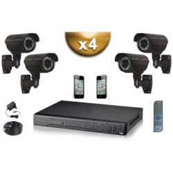 Kit PRO 4 câmeras bullet SONY 1000 TVL + gravador DVR 1000 Go FULL 960H
