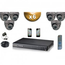 Kit PRO 6 câmeras dome SONY 1000 TVL + gravador DVR 1000 Go FULL 960H