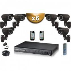 Kit PRO 6 câmeras bullet SONY 1000 TVL + gravador DVR 1000 Go FULL 960H