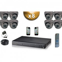 Kit PRO 8 câmeras dome SONY 1000 TVL + gravador DVR 1000 Go FULL 960H