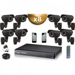 Kit PRO 8 câmeras bullet SONY 1000 TVL + gravador DVR 1000 Go FULL 960H