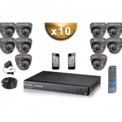 Kit PRO 10 câmeras dome SONY 1000 TVL + gravador DVR 2000 Go FULL 960H